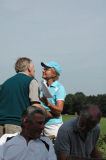 Rona congratulates Terry Hunt for final day first finish (Dave McCormick and Peter Breakell refuse to watch)
